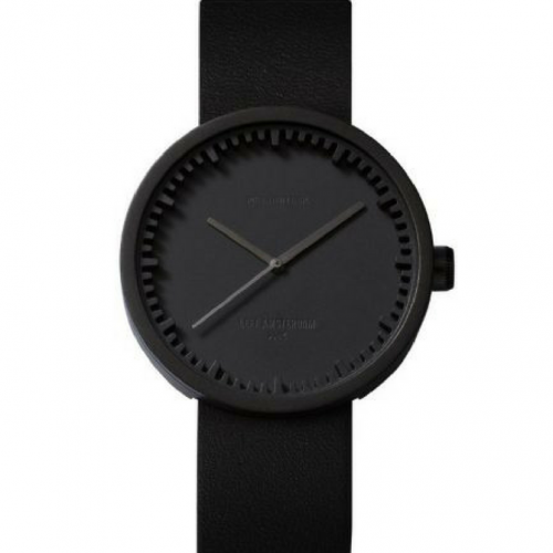 Leff-Tube watch D42 black/black leather strap