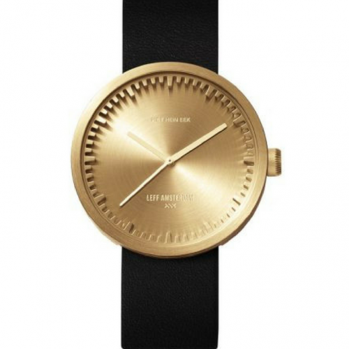 Tube watch D42 brass/black leather strap