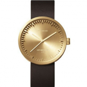 Tube watch D42 brass/brown leather strap