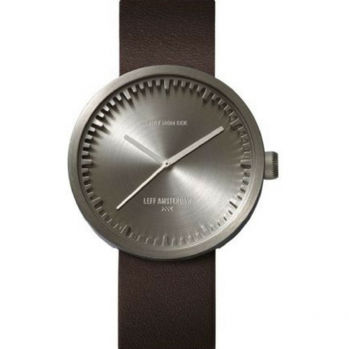 Tube watch D42 steel/brown leather strap