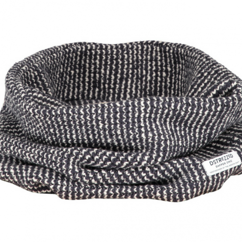 Circular Scarf Marine Knit Cotton Nylon
