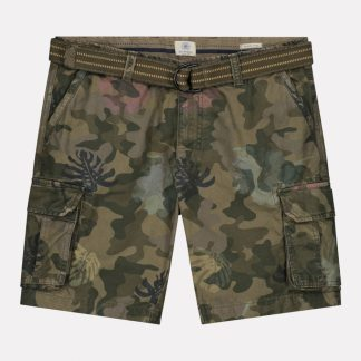 Combat shorts with Belt Camo Hibiscus Canvas