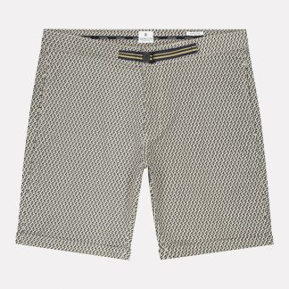 Chino Shorts with belt Graphic Wave Lt. Stretch Twill
