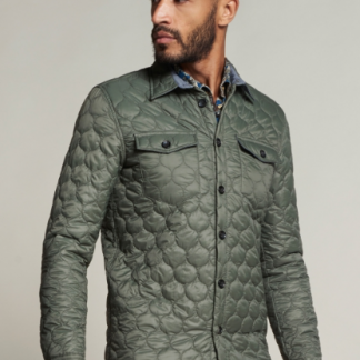 Quilted Shirt Jacket Shiny Nylon